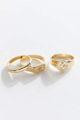 Urban Outfitters Celestial Signet Ring Set