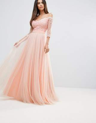 Forever Unique Bridesmaid Bardot 3/4 Sleeve Maxi Dress