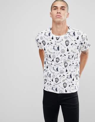 Brave Soul All Over Beard Print T-Shirt