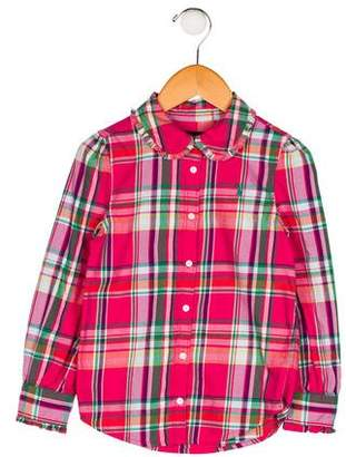 Polo Ralph Lauren Girls' Plaid Button-Up Top