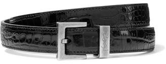 Saint Laurent Croc-effect Leather Belt - Black