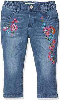 Benetton 4CU95567E - Trousers - Trousers - Baby Girl - Blue (Denim Cover Printed With Colored Flowers) - EN: 6-9 months (Waist Manufacturer: 68 cm)