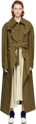 Awake Brown Oiled Cotton Trench Coat
