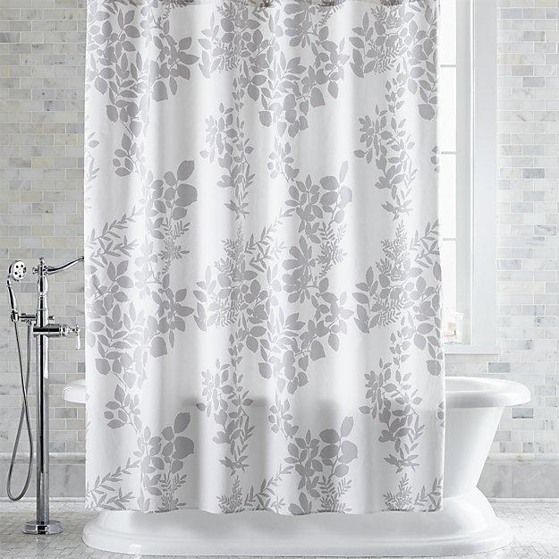 Crate & BarrelMarimekko Kukkula Grey Shower Curtain