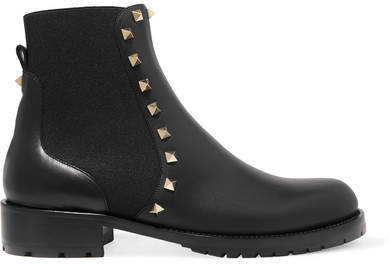 Valentino - The Rockstud Leather Chelsea Boots - Black