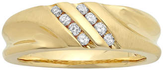 JCPenney MODERN BRIDE Mens 1/4 CT. T.W. Diamond 10K Yellow Gold Slant Wedding Band