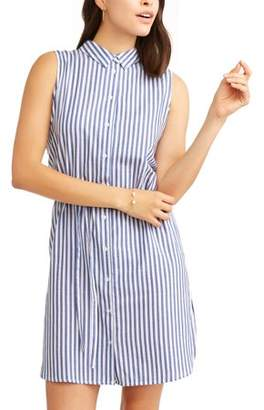Thyme and Honey Women's Vertical Striped Sleeveless Shirt Dress