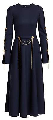 Oscar de la Renta Women's Chain Draped Wool-Blend Midi Dress