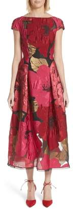 Talbot Runhof Poppy Organza Jacquard Dress