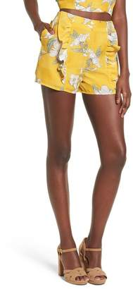 J.o.a. Chriselle x Ruffle Front High Waist Shorts