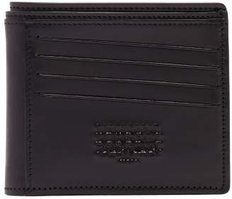 Maison Margiela Logo Embossed Leather Bi Fold Wallet - Mens - Black