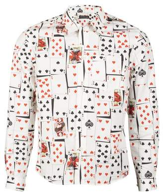 Balenciaga Card Print Slim Fit Poplin Shirt - Mens - Multi