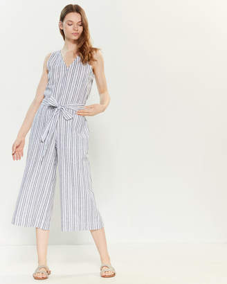 BeachLunchLounge Beach Lunch Lounge Belted Linen-Blend Striped Jumpsuit