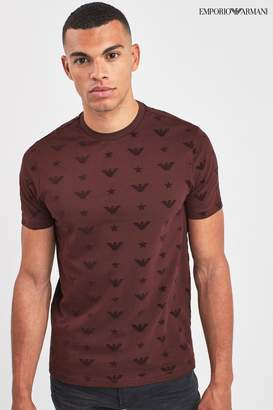 Emporio Armani Mens Burgundy All Over T-Shirt - Purple