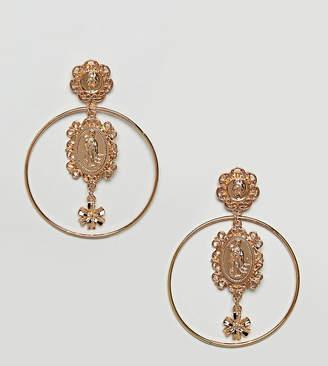 Reclaimed Vintage inspired charm hoop earrings