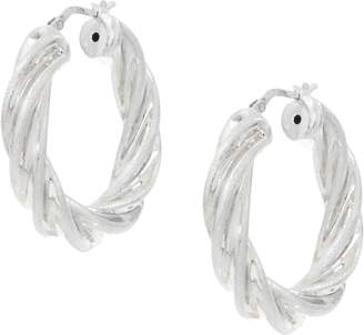 Italian Silver Sterling Satin & Polished Twist Design Hoop Earrings