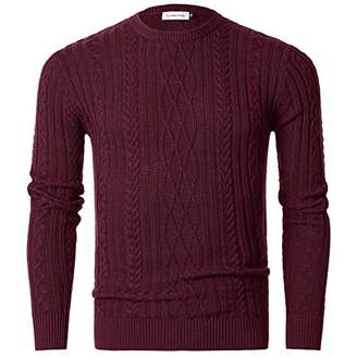 Chain Stitch Men's Gradient Faded Knitted Pullover Crew Neck Sweater