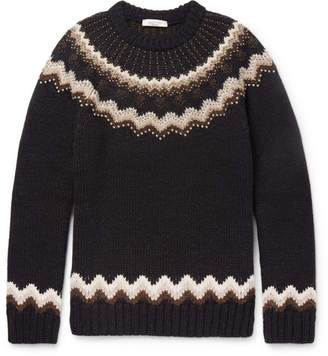 Valentino Slim-Fit Studded Fairisle Wool And Alpaca-Blend Sweater