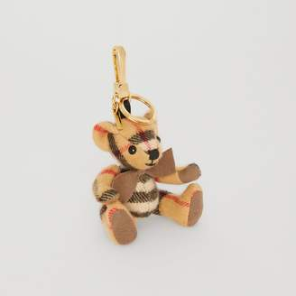 Burberry Thomas Bear Charm in Vintage Check Cashmere, Yellow