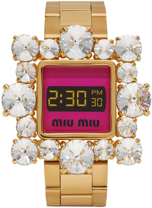 Miu Miu Gold and Pink Crystal Watch Bracelet
