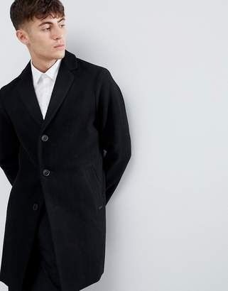 Esprit Smart Wool Overcoat In Black