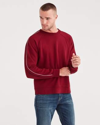 7 For All Mankind Stripe Sleeve Sweatshirt in Dark Burgundy