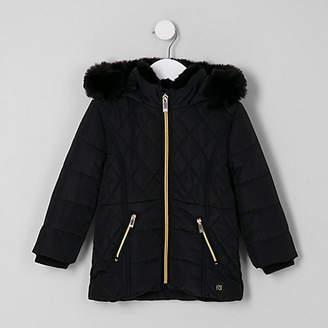River Island Mini girls black faux fur lined puffer coat