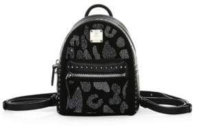 MCM Extra Mini Stark Leopard Crystal Backpack
