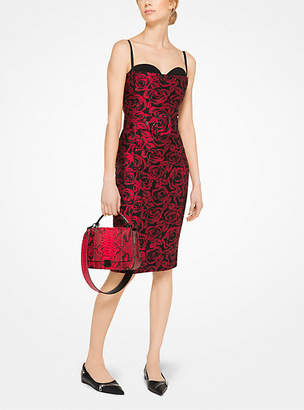 Michael Kors Rose Silk Jacquard Sheath Dress