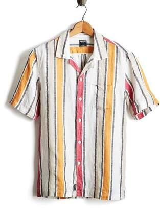 Todd Snyder Awning Stripe Camp Collar Button Down Shirt in Orange