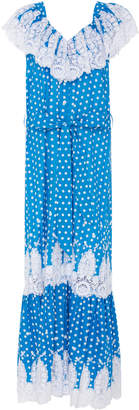 Miguelina Thalia Adjustable Off Shoulder Lace Cotton Maxi Dress