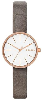 Skagen Signatur Leather Strap Watch, 30mm