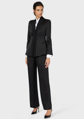 Giorgio Armani Pure Silk Tuxedo Jacket With Opaque Satin Details