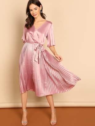 Shein Waist Belted Wrap Pleated Satin Dress