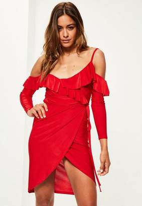 Missguided Red Slinky Frill Cold Shoulder Midi Dress