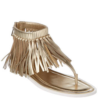 Tod's Metallic Leather Fringe Sandal