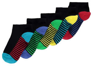 George Assorted Trainer Liner Socks 5 Pack
