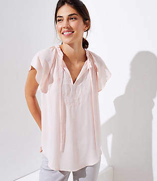 LOFT Petite Embroidered Ruffle Tie Neck Top