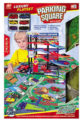 Optimum Fulfillment Lucky Toys - Parking Lot with Playmat Set, 47 Pieces
