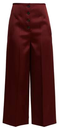 Joseph Brod Wide Leg Satin Cropped Trousers - Womens - Burgundy