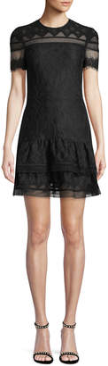 Jonathan Simkhai Multimedia Threaded Mesh Mini Ruffle Dress