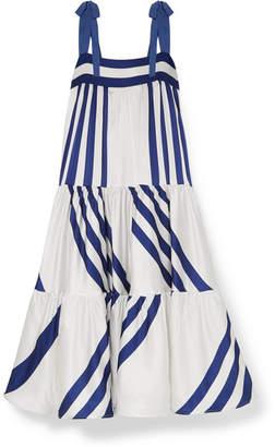Silvia Tcherassi Tayrona Striped Silk-blend Satin Maxi Dress - White
