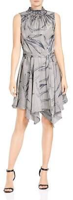 Halston Sleeveless Printed Mock-Neck Dress