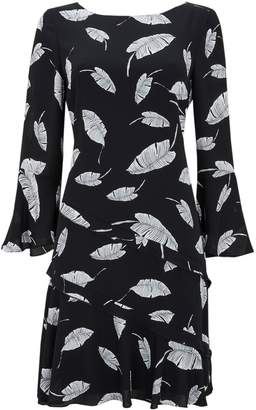 Wallis Black Feather Print Ruffle Shift Dress