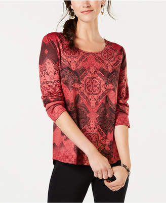 Style&Co. Style & Co Printed Rhinestone-Embellished Top