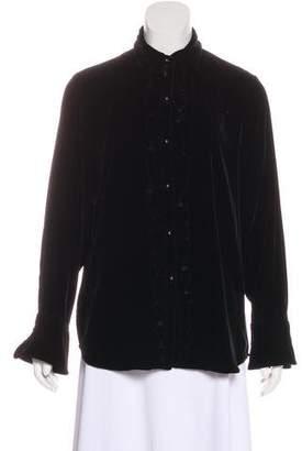 Lauren Ralph Lauren Velvet Long Sleeve Blouse