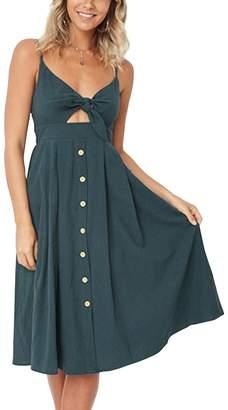 Dolce & Gabbana Walant Womens Summer Spaghetti Strap Dress Tie Front V-Neck Swing Midi Dress (XL, Red1)