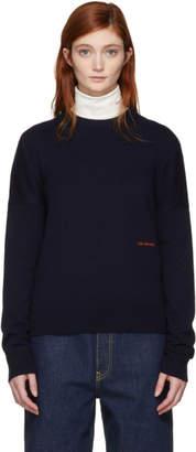 Calvin Klein Navy Cashmere Small Logo Sweater