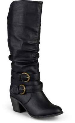 Brinley Co. Women's Wide Calf Slouch Buckle High Heel Boots