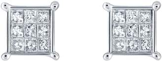 Affinity Diamond Jewelry Affinity 14K 1/4 cttw Princess-Cut Invisible-Set Stud Earring